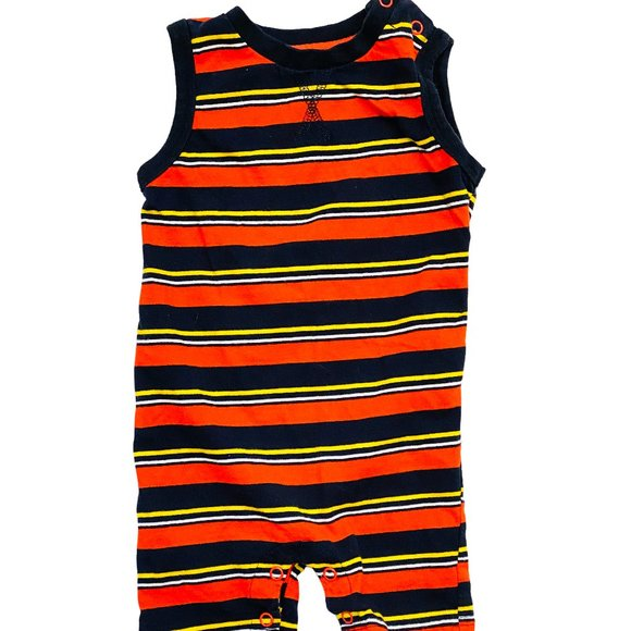 Navy & Red Striped Sleeveless Romper